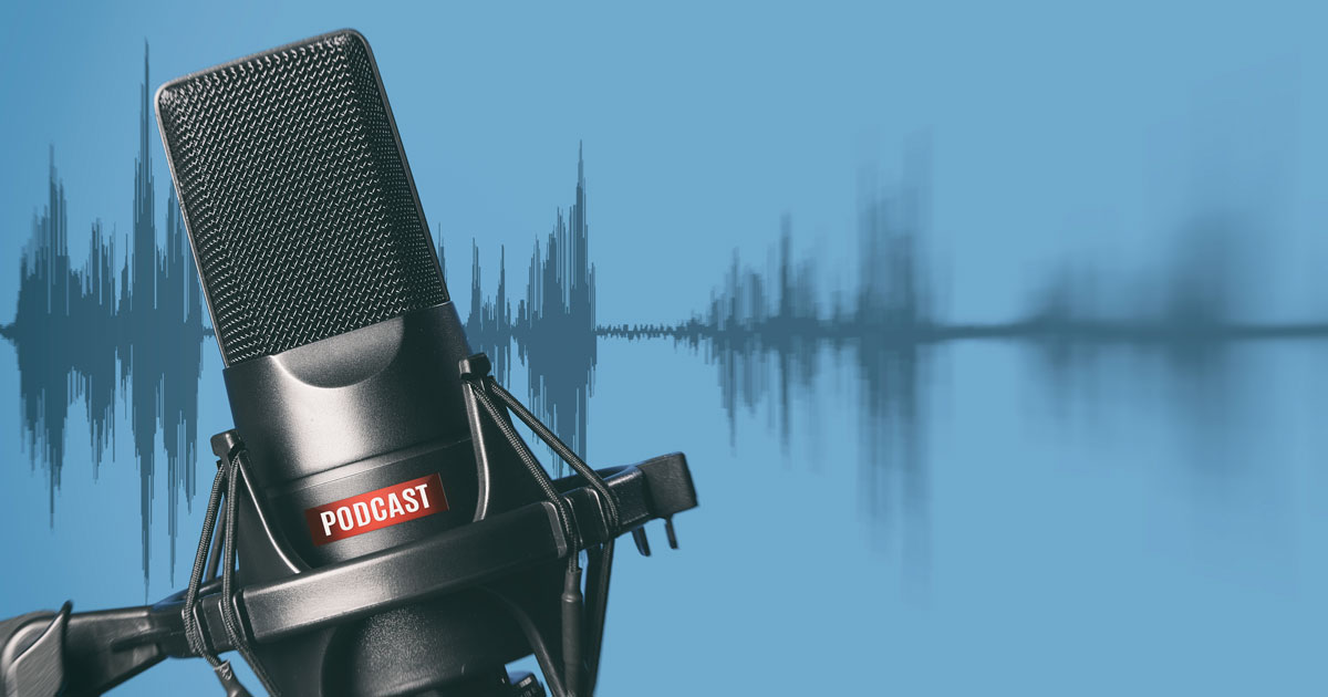 professional microphone with podcast icon
